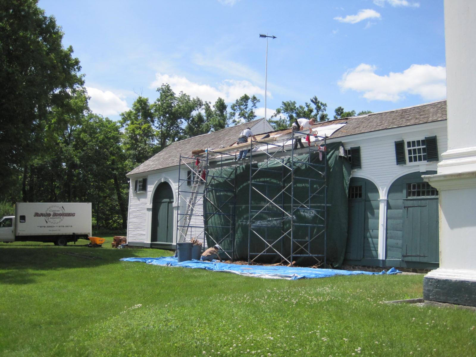 barrett carriage barn roof replacement begins historic new england barrett carriage barn roof replacement begins