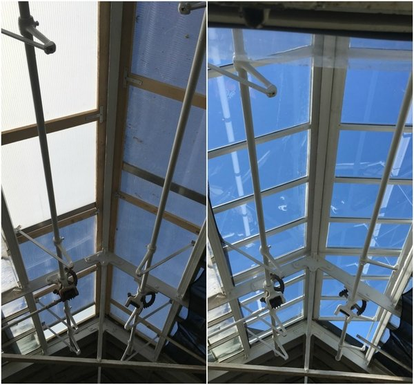 Before and after photo of conservation work to windows in the Sales House