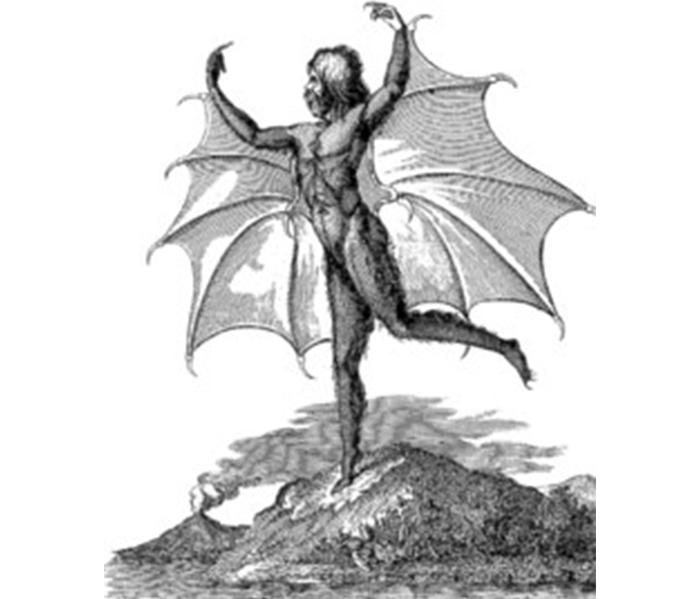 Sketch of man with bat wings.